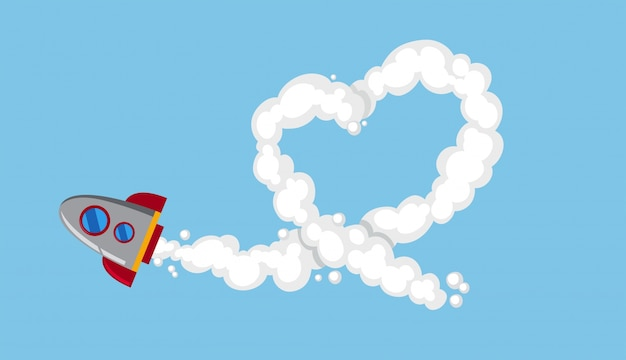 Rocketship die in hemel vliegen