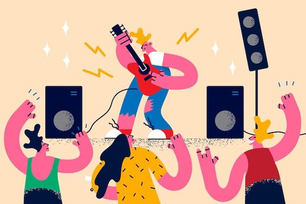 Rockgitaarmuziek en concertconcept
