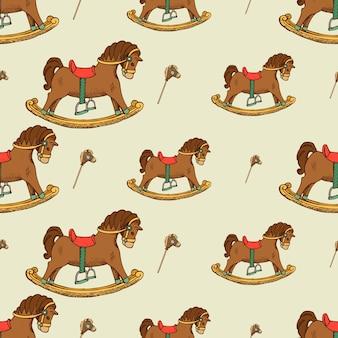 Rocking horse naadloze patroon. jeugd achtergrondafbeelding, plat