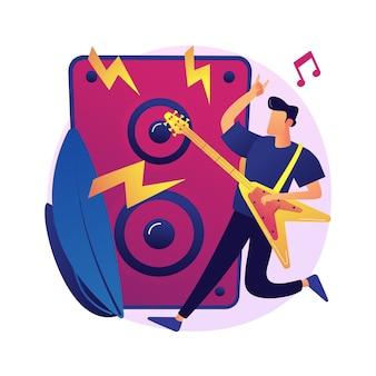 Rockmuziek abstract concept illustratie. rock-and-roll-concert, rockmuziekfestivalcultuur, platenwinkel, live optreden, garage-opnamestudio, bandrepetitie