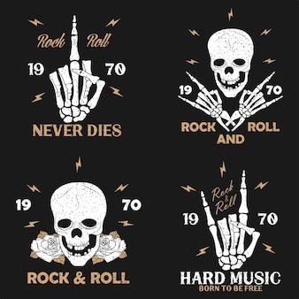 Rockmuziek grunge print voor kleding met skelet hand schedel en roos vintage rocknroll tshirt