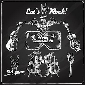 Rockmuziek schoolbord set