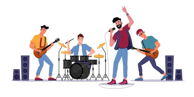 Rockmuziekbandmuzikanten spelen op gitaren drumstel en zanger met microfoonsolist die zingt