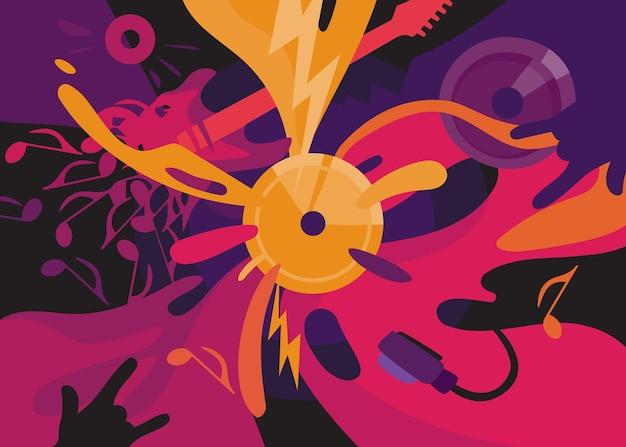 Rockmuziekbanner. aanplakbiljet ontwerp in abstracte stijl.