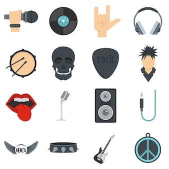 Rockmuziekpictogrammen die in vlakke stijl worden geplaatst