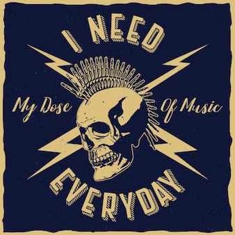 Rockmuziekposter met zin ik heb elke dag mijn dosis muziek nodig