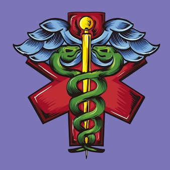 Rod of asclepius logo medicare doctor
