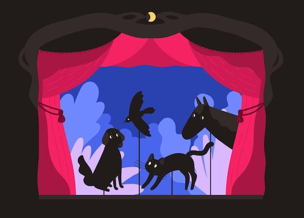 Rod schaduwpoppen gemanipuleerd door poppenspeler in theaterpodium