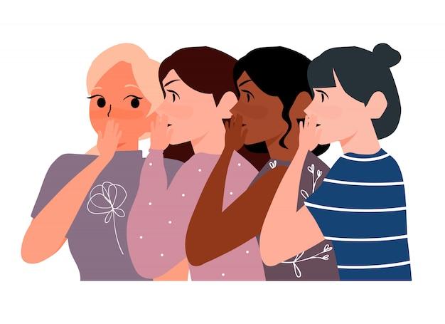 Roddelmeisjes fluisteren in oorgeheimen. vrouw die geheim aan haar vriendenillustratie fluistert. mond-tot-mondreclame concept
