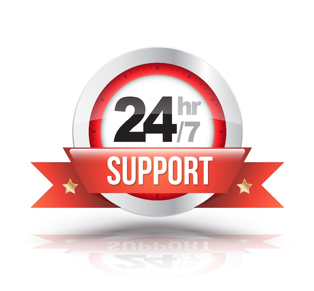 Rode 24-uurs / 7-ondersteuning met klokschaalbadge