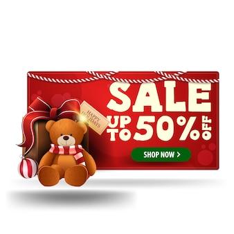 Rode 3d kortingsbanner van kerstmis met heden met teddybeer die op witte achtergrond wordt geïsoleerd