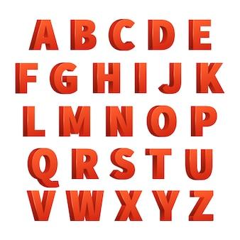 Rode 3d letters vector alfabet, belettering