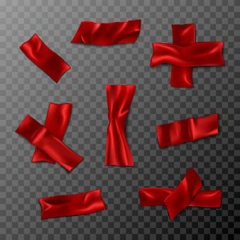 Rode 3d-realistische zwarte duct tape collectie. geïsoleerd op transparante achtergrond. gerimpelde scotch-stukken.
