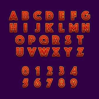 Rode 3d-stijl alfabetten en cijfers