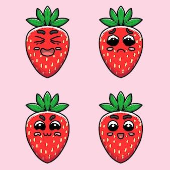 Rode aardbei met verschillende uitdrukking