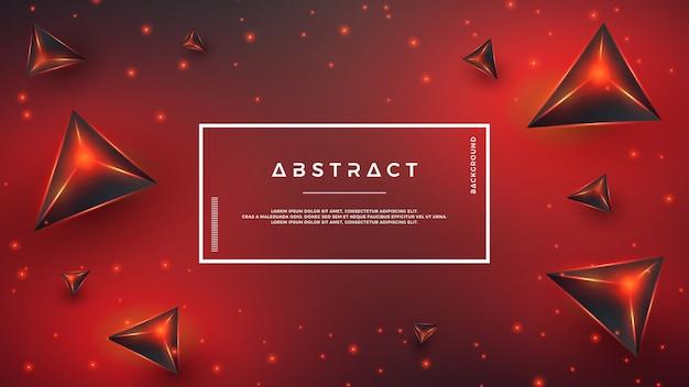 Rode abstracte 3d-driehoek achtergrond.