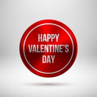 Rode abstracte technologie cirkel badge, knopsjabloon met valentijnsdag tekst