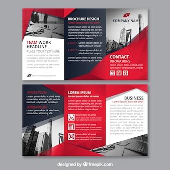 Rode abstracte vormen corporate triptych template