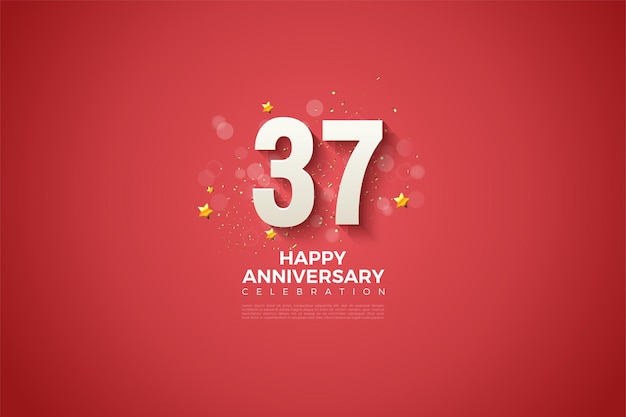 Rode achtergrond met cijfers voor 37ste verjaardag