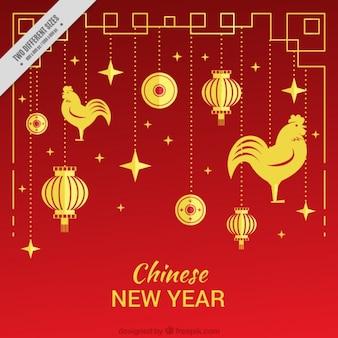 Rode achtergrond met hanen en gouden ornamenten