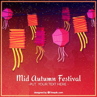 Rode achtergrond met kleurrijke lantaarns, midden herfst festival