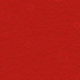 Rode achtergrond met reliëf sneeuwvlokken