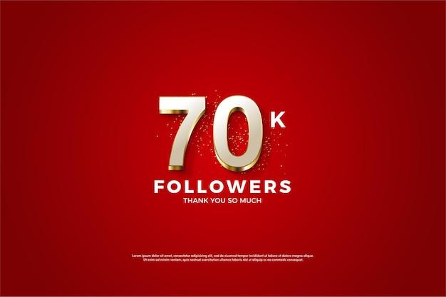 Rode achtergrond voor 70k volgers met heldere goud gearceerde nummers