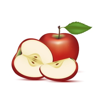Rode appel met appelschijfjes en bladeren vitamines gezond voedsel fruit