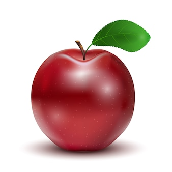 Rode appel met geïsoleerd blad