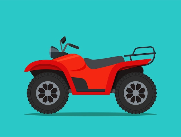 Rode atv-motorfiets geïsoleerde vector vlakke stijlillustratie