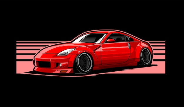 Rode auto illustratie