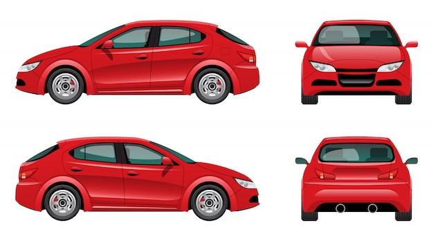 Rode auto in verschillende weergaven