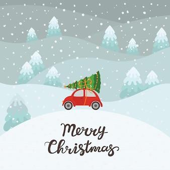 Rode auto met kerstboomachtergrond