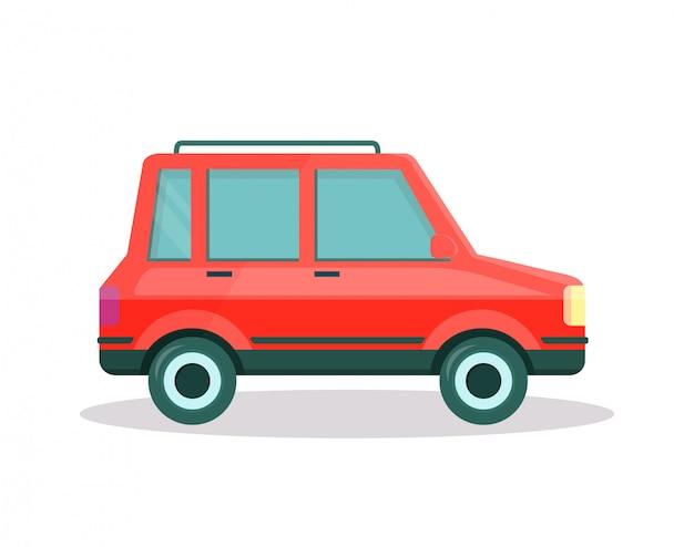 Rode auto met kofferbak op dak op witte achtergrond.