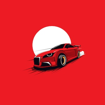 Rode auto onder de maan