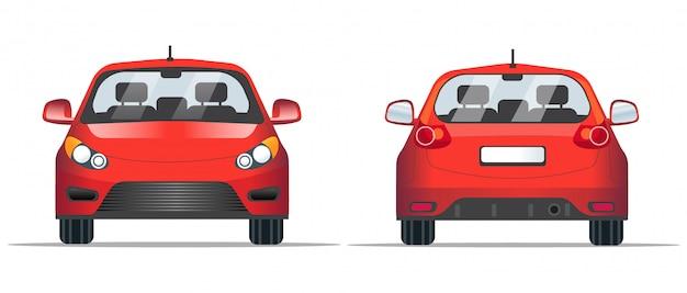 Rode auto voor- en achteraanzicht, stijl. sjabloon voor website, mobiele applicatie en reclame