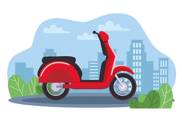 Rode autopedmotorfiets op de stad