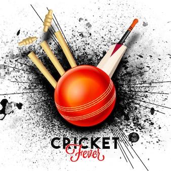 Rode bal slaan de wicket stumps met vleermuis op zwarte abstracte splash achtergrond voor cricket fever concept.