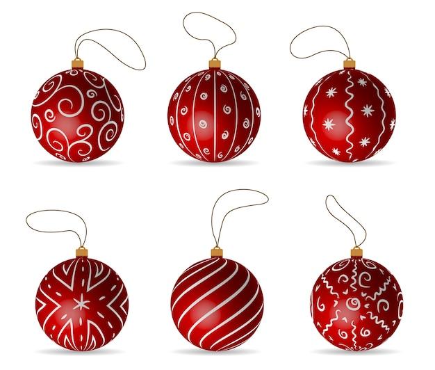 Rode ballen set decoraties voor kerst drie