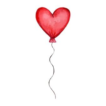 Rode ballon in de vorm van een hart op een witte achtergrond handgetekende aquarel vector illustratio