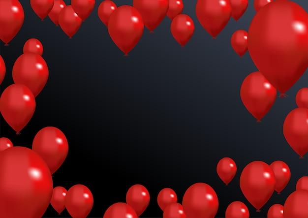 Rode ballonnen conceptontwerp met donkere lege ruimte voor uw tekst.