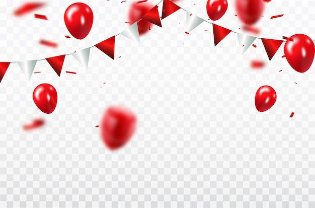 Rode ballonnen, confetti concept ontwerpsjabloon happy valentine's day