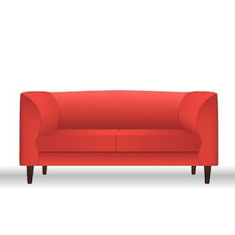 Rode bank voor moderne woonkamer, receptie of lounge