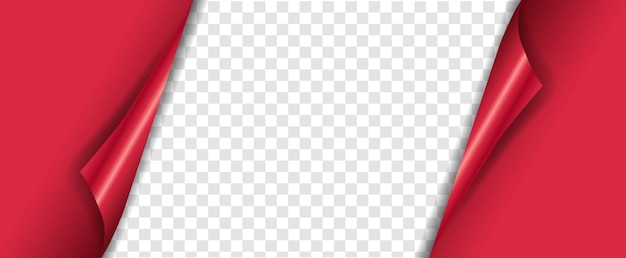 Rode banner met hoeken transparante achtergrond