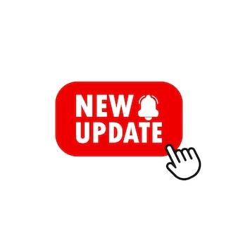 Rode banner nieuwe update met aanwijzer. bijwerken knop. vectoreps 10. geïsoleerd op witte achtergrond.