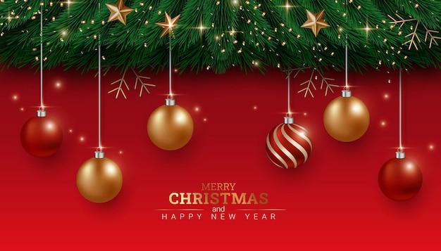 Rode banner prettige kerstdagen en gelukkig nieuwjaar illustratie