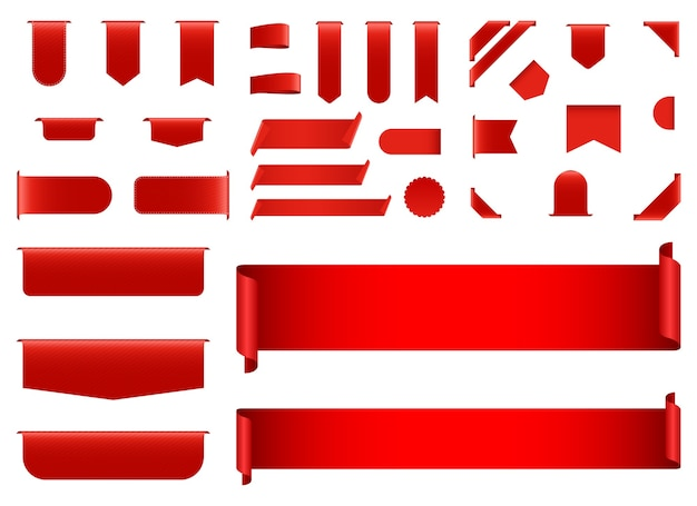Rode bannerillustratie die op witte achtergrond wordt geïsoleerd