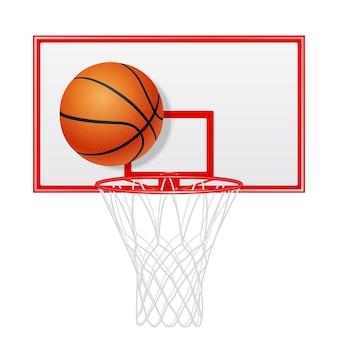 Rode basketbalrugplank en bal. geïsoleerd.