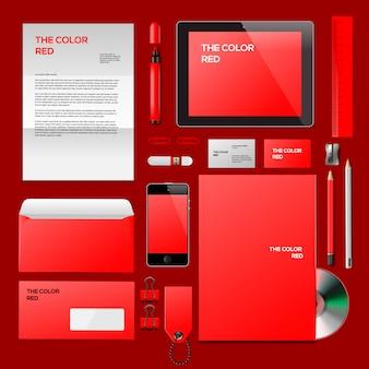 Rode bedrijfs-id. illustratie