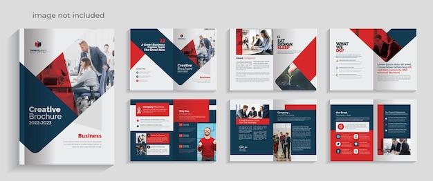 Rode bedrijfsbrochurelay-out premium vectoraccenten 12 pagina's
